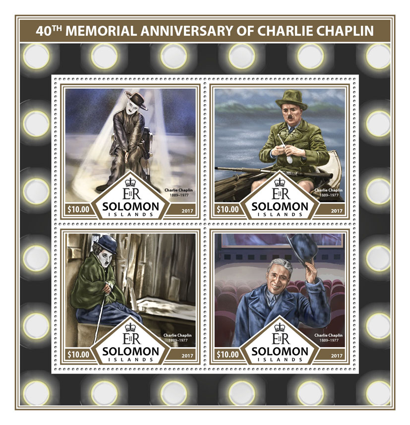 Charlie Chaplin - Issue of Solomon islands postage stamps