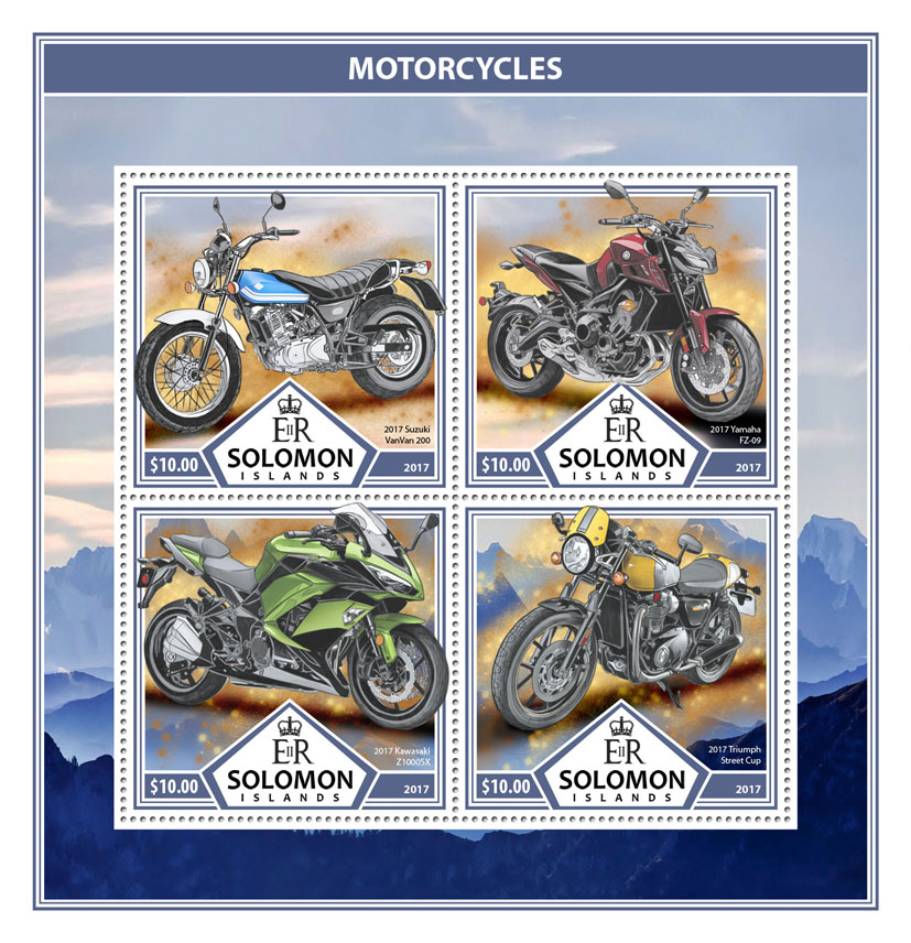 Motorcycles - Issue of Solomon islands postage stamps