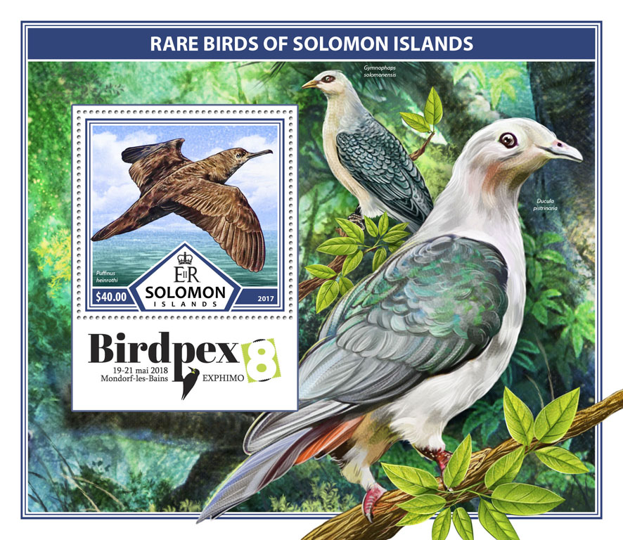 Rare birds - Issue of Solomon islands postage stamps