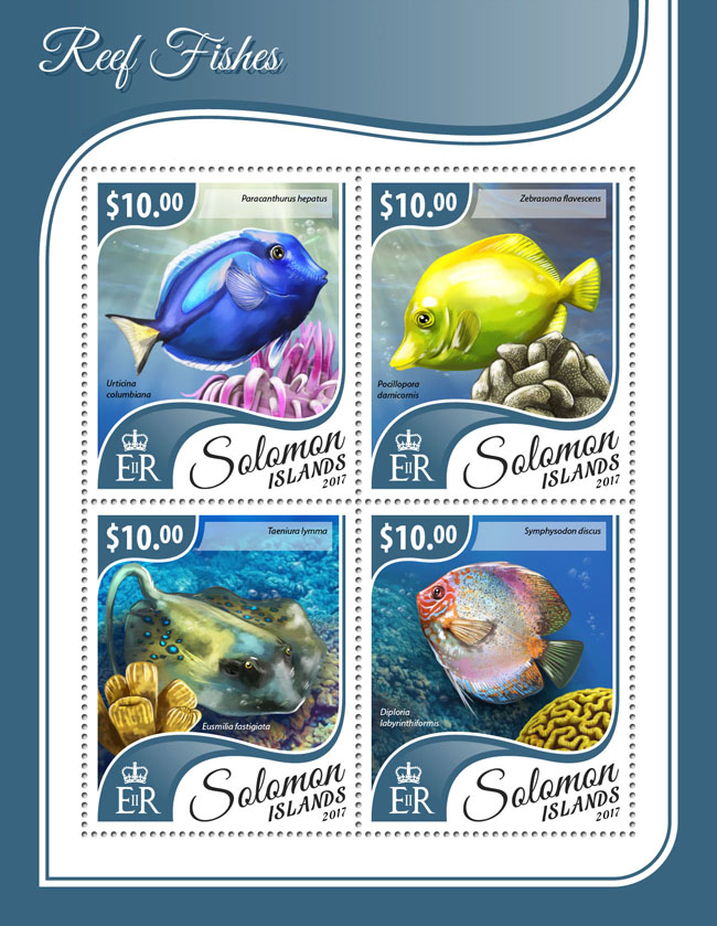 Reef fishes - Issue of Solomon islands postage stamps