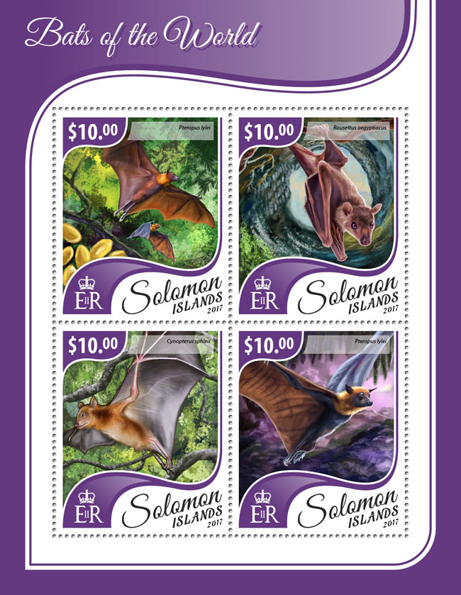 Bats of the world - Issue of Solomon islands postage stamps