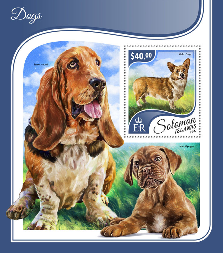 Dogs - Issue of Solomon islands postage stamps