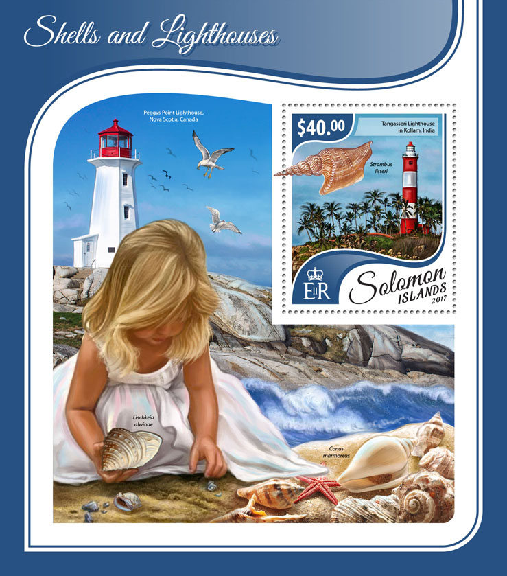 Shells and lighthouses - Issue of Solomon islands postage stamps