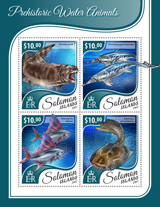 Prehistoric water animals - Issue of Solomon islands postage stamps