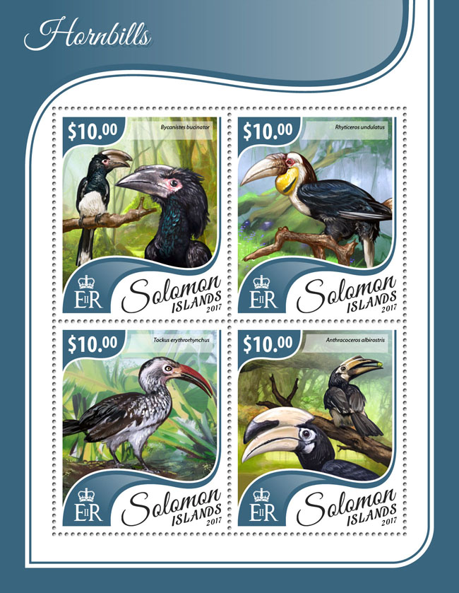 Hornbills - Issue of Solomon islands postage stamps