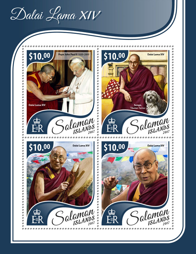 Dalai Lama XIV - Issue of Solomon islands postage stamps