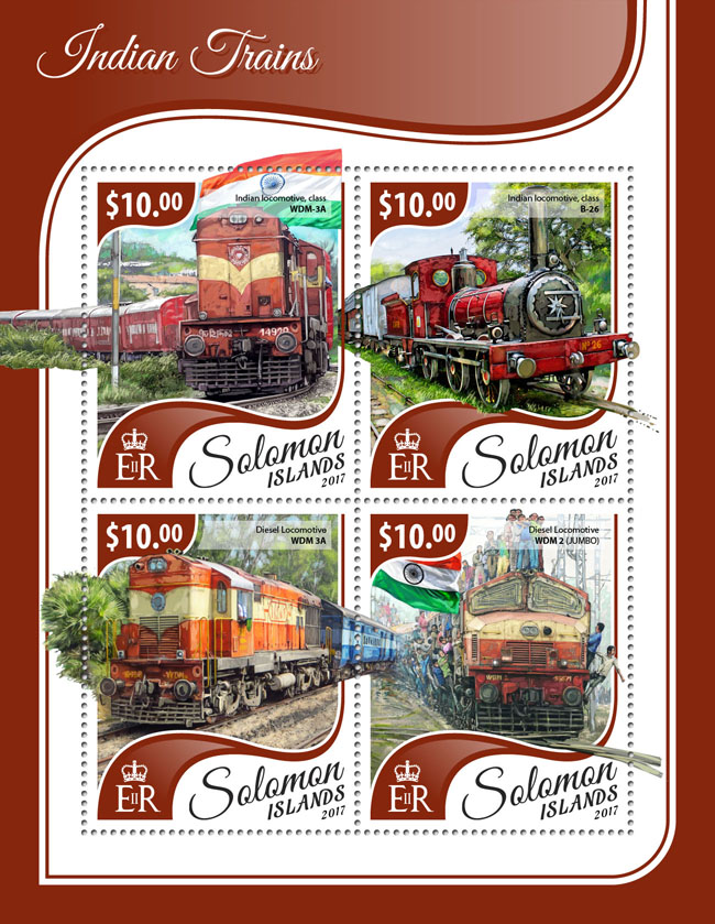 Indian trains - Issue of Solomon islands postage stamps