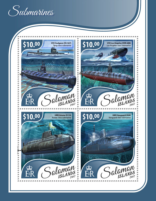 Submarines - Issue of Solomon islands postage stamps