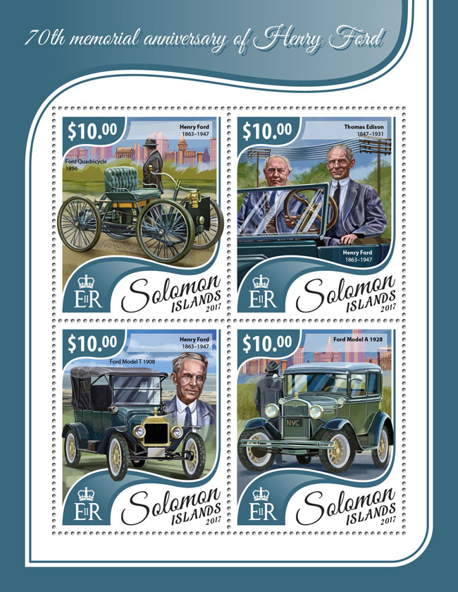 Henry Ford - Issue of Solomon islands postage stamps