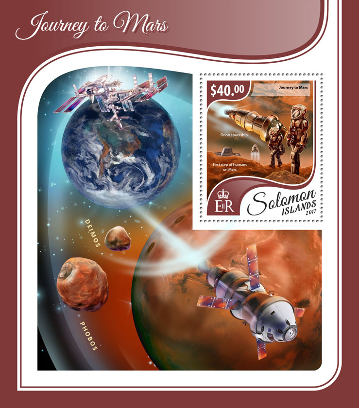 Journey to Mars - Issue of Solomon islands postage stamps