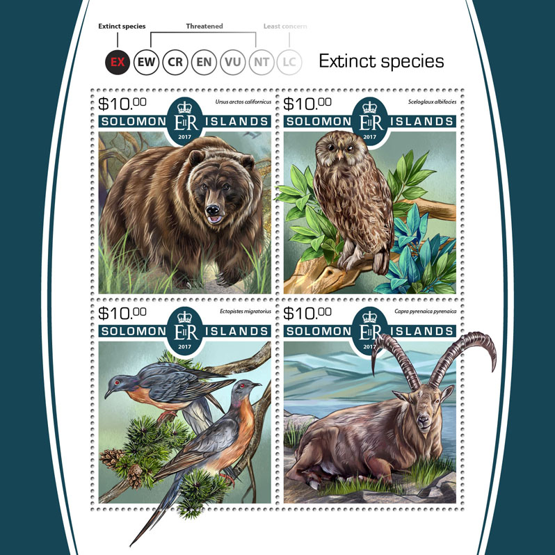 Extinct species - Issue of Solomon islands postage stamps