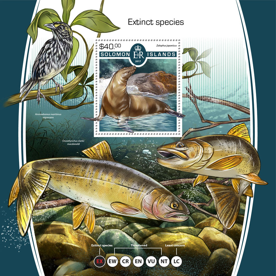 Extinct species - Issue of Solomon islands postage stamps