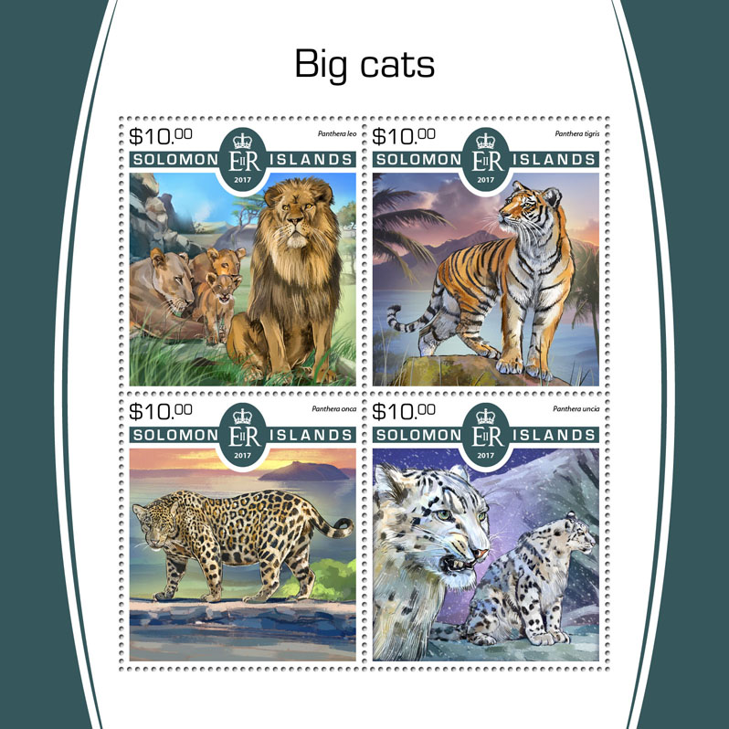 Big cats - Issue of Solomon islands postage stamps