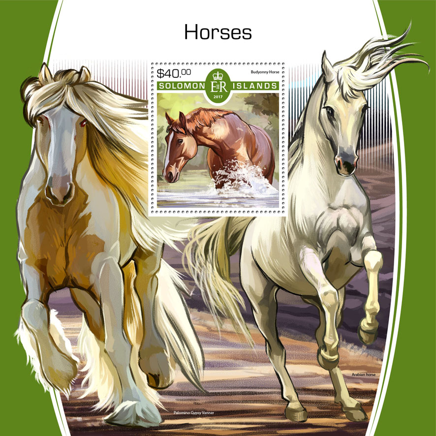 Horses - Issue of Solomon islands postage stamps