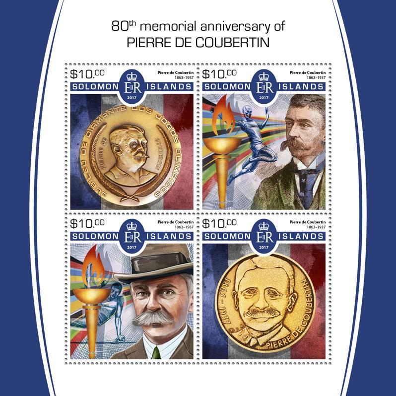 Pierre de Coubertin - Issue of Solomon islands postage stamps